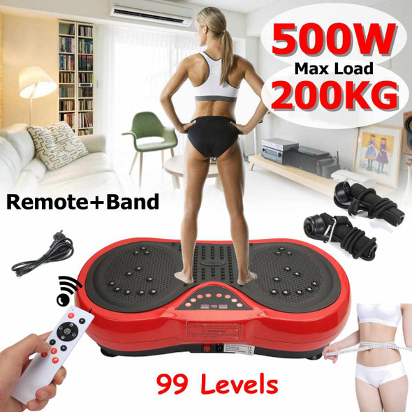 Exercise Fitness Slim Vibration Machine Trainer Plate Platform Body Shaper with Resistance Bands+ remote + b and