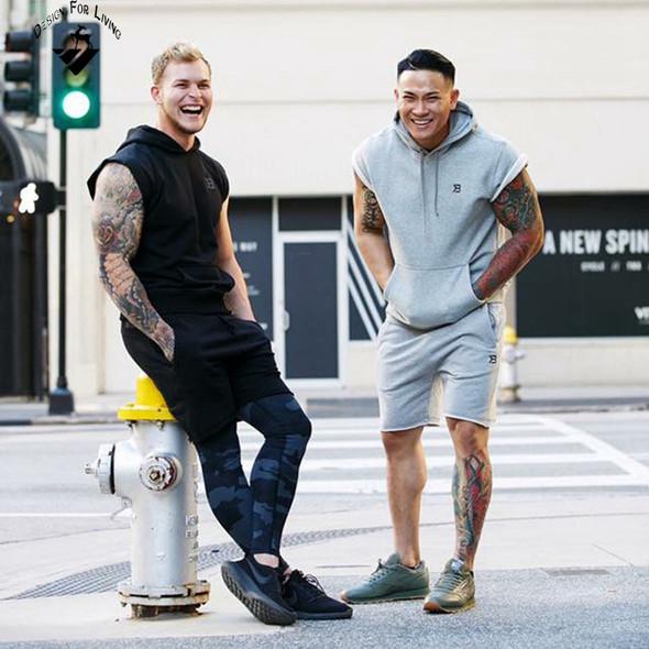 Men's Brand Cotton Sweater Sweatshirts Fitness Apparel Bodybuilding Tank Tops Men's Sleeveless T-shirt Diamonds Casual Vest