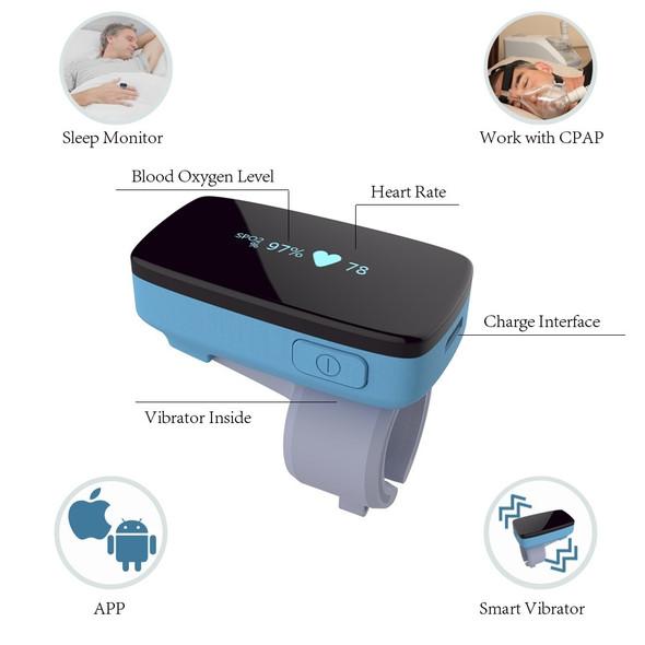 Sleep Monitor Finger Pulse Oximeter Alarm Oxygen Heart Rate O2 Anti-Snoring Wireless Blutooth Sleep Apnea with LED Screen