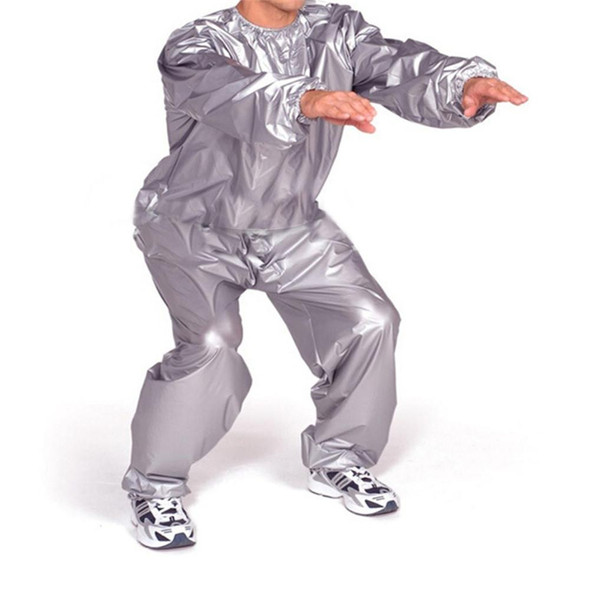 PVC Fitness Waterproof Sauna Suit Sweat Clothes Gym Training Slimming Workout Weight Loss Sauna Clothes