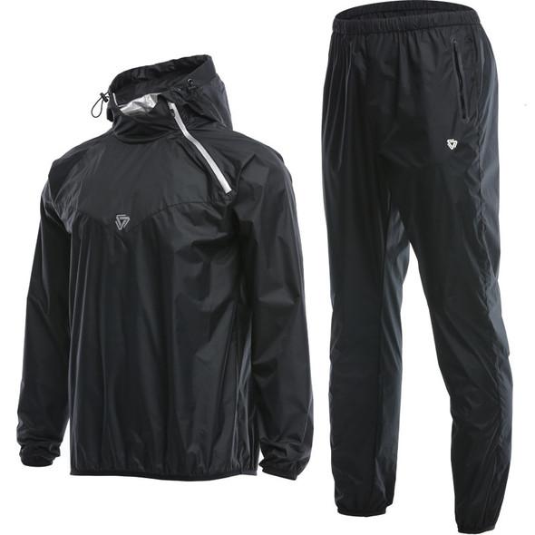 Sauna Suit Set Sport Jackets + Pants Suit Quick Dry Hooded Gym Running Jogging Man Training Workout Accessories Tracksuit