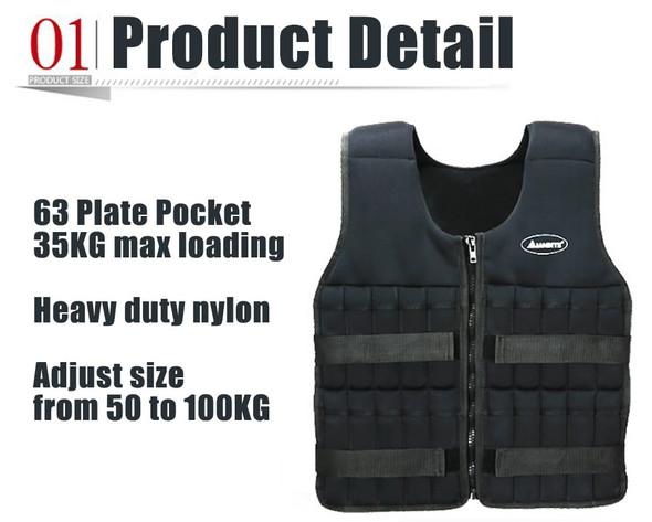 35kg Loading Weighted Vest For Boxing Training Equipment Adjustable Exercise Waistcoat Black Jacket Swat Steel Bar Clothing