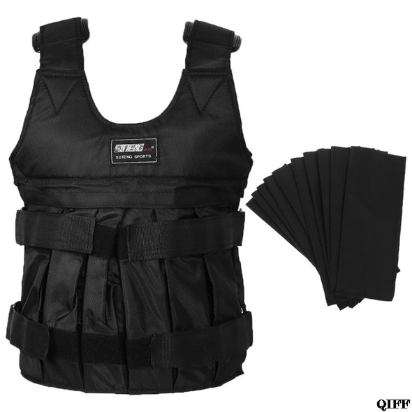50kg Max Black Adjustable Loading Weighted Vest Durable Thickening Exercise Training Fitness