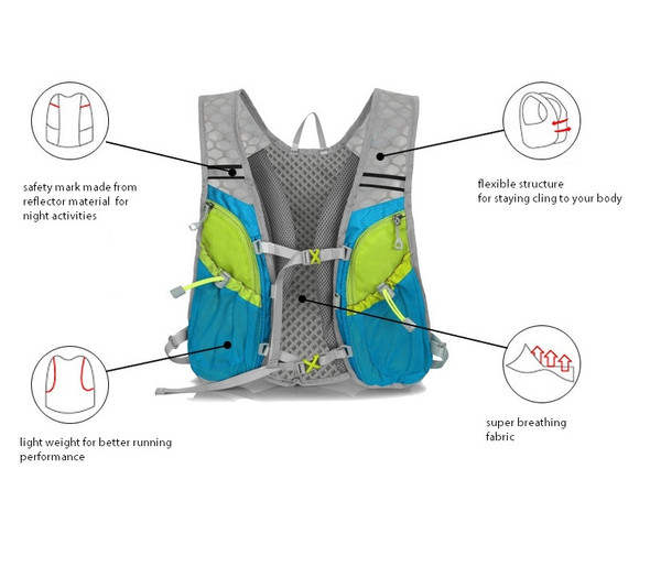 9 Color Vest Style 5L Outdoor Sports Cycling Racing Marathon Water Bag Backpack Hydration Pack Hiking Camping
