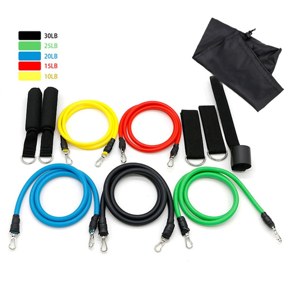 11pcs/set Pull Rope Fitness Exercises Resistance Bands Crossfit Chest Expander Puller Body Training Workout Yoga Latex Tubes