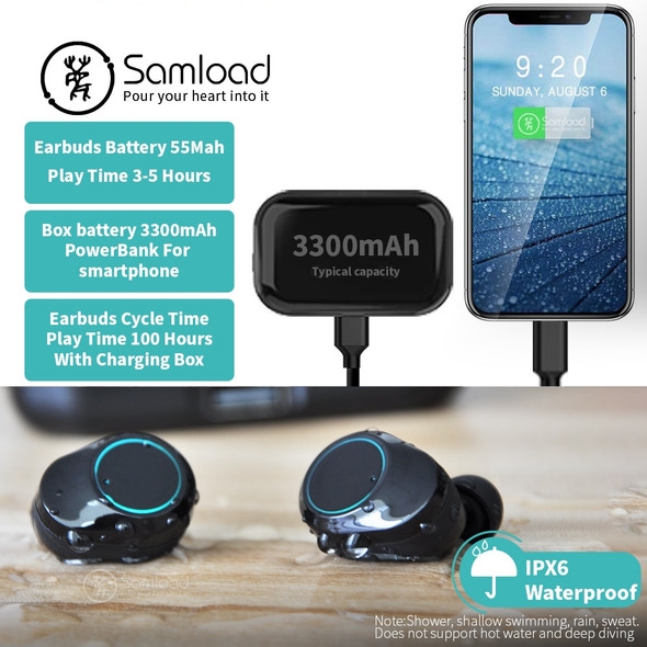 Samload Wireless Headphones HIFI Sound Bluetooth 5.0 Earphones Stereo Earbuds with 3300 mAh Charge Box Power bank For Smartphone