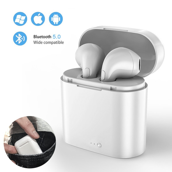 I7sTWS Inear wireless Bluetooth headset stereo earbuds earphone for iPhone Huawei xiaomi smartphone with charging box microphone