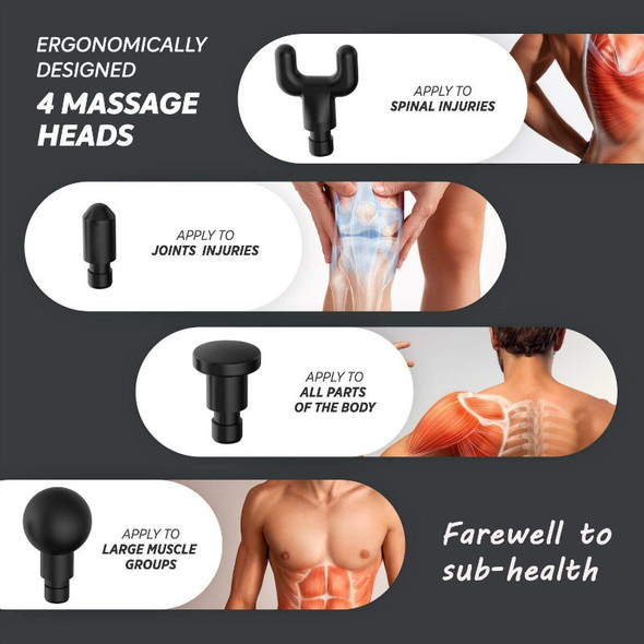 Massage Gun Professional Deep Tissue Body Massager for Muscle Tension Relief with 4 Massage Head