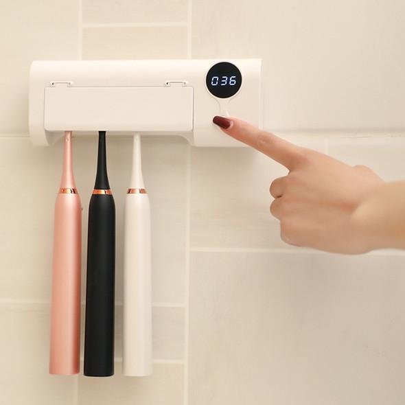 UV Light Toothbrush Holder, Toothpaste Dispenser, Sterilizer + Wall Mounted Holder Rack & Sanitizer