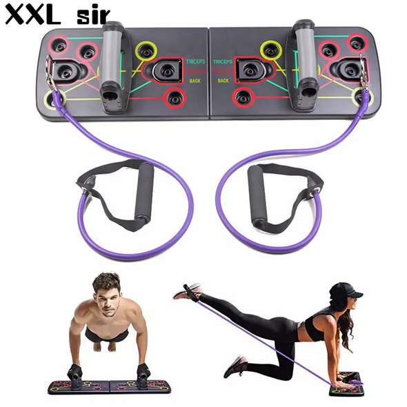 Push Up Board With Resistance Band Multifunction Home Workout Fitness Equipment Push Up Muscle Board Gym System Training Tool