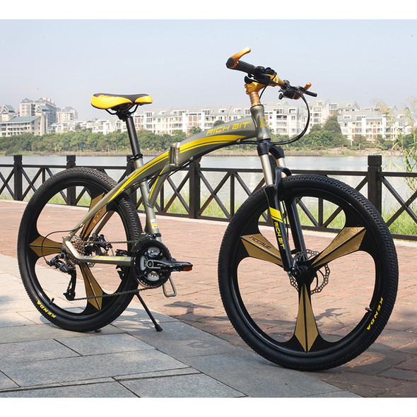 New Aluminum Folding Bicycle 27 speeds Mountain Bike Dual Disc Brakes Variable Speeds Road Bike Racing Bicycle Gold