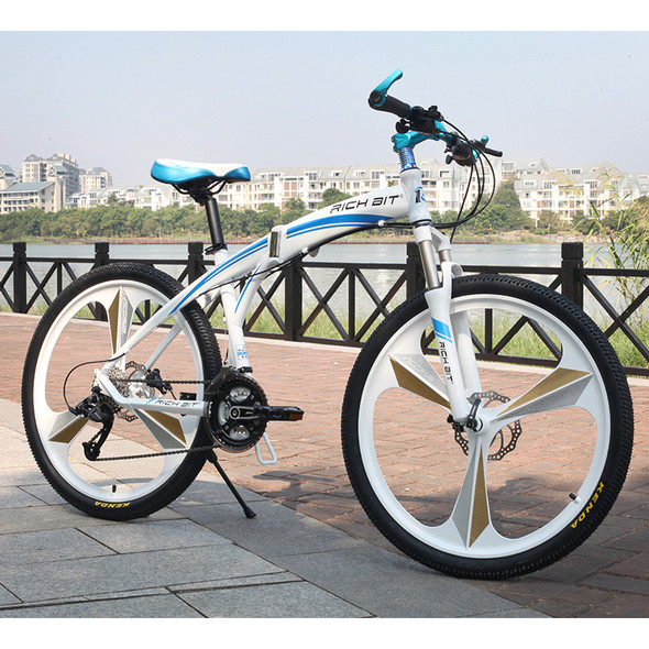 Aluminum Folding Bicycle 27 speeds Mountain Bike Dual Disc Brakes Variable Speed Road Bike Racing Bicycle White and Blue