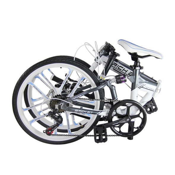 New 20 Inch Folding Bicycle 7 Speeds Heterotype Tube Frame Double Disc Brake City Folding Bike 10 Spokes Folding Bike