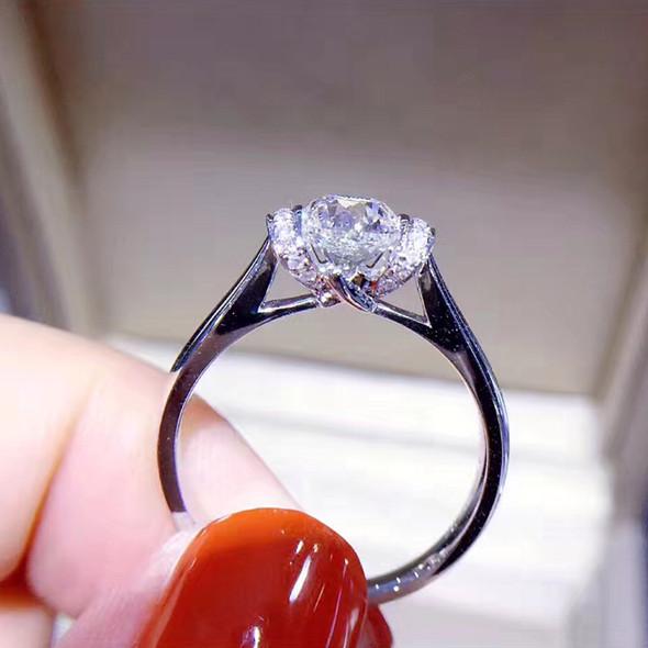 18K White Gold (AU750) Women Wedding Ring IGI Certified H/VVS1 1 CT Real Diamond Ring Jewelry Custom for Women Engagement