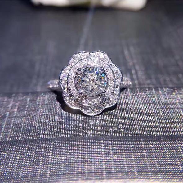 18K White Gold (AU750) Women Wedding Ring IGI Certified H/VS1 Luxury 1 CT Round Cut Halo Natural Diamond Ring for Engagement