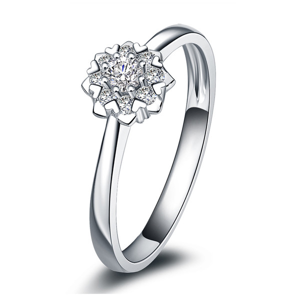 18K White Gold (AU750) Wedding Ring 0.2 CT Certified I/SI Diamond Flower Shape Heart Prong Bridal Band for Lovers Engagement