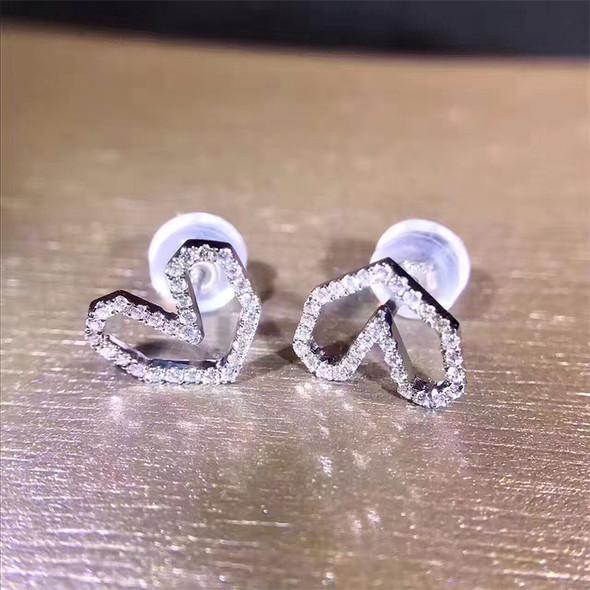 18K White Gold Women Wedding Earrings 0.18 CT Certified I/SI Natural Diamond Jewelry Heart Shape Elegant Lady Stud Earrings