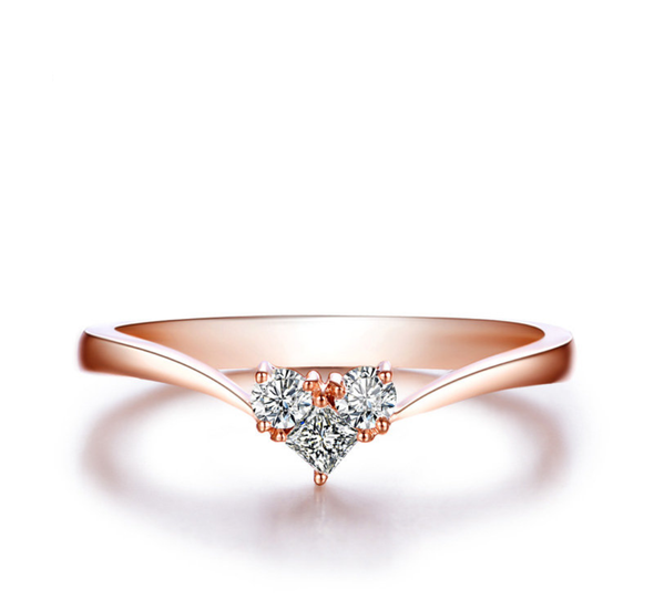 18K Rose Gold (AU750) Wedding Rings Certified I-J/SI 0.1 CT Round Cut Diamond Heart Shape Valentines Promise Ring for Women