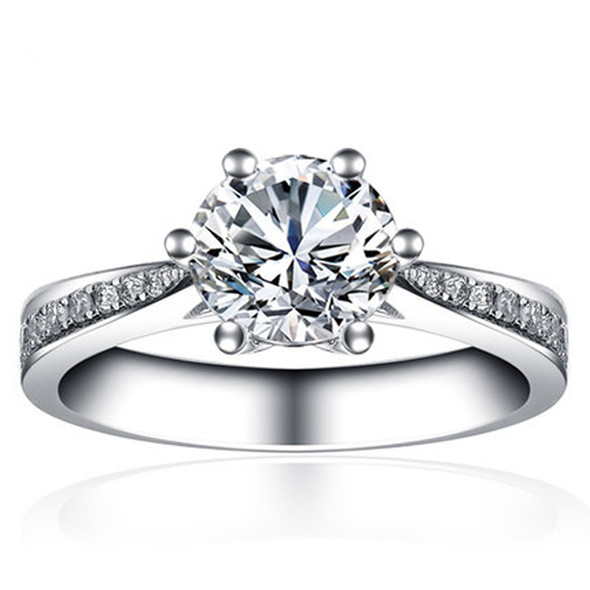 18K White Gold (AU750) Wedding Ring Natural Certified I-J/SI 0.4 CT Round Cut Diamond Classic Engagement Ring Band for Women