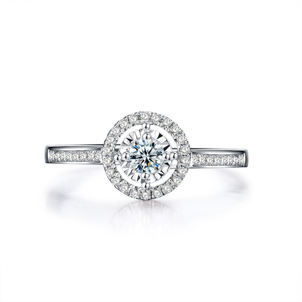 18K White Gold (AU750) Engagement Ring 0.39 CT Certified I/SI Round Cut Diamond Halo Anillos 1 Row Drill Women Wedding Rings