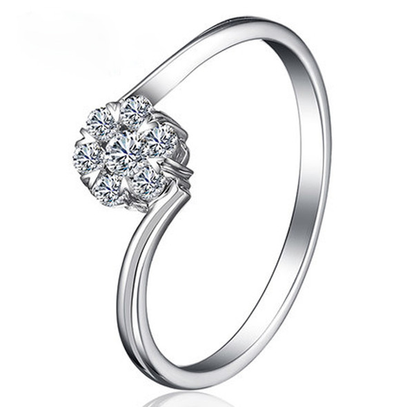 18K White Gold (AU750) Wedding Ring Natural Certified I-J/SI Round Cut Diamond Simple Twisted Design Lovers Promise Rings