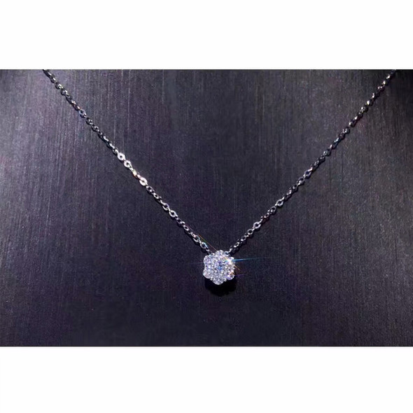 18K White Gold (AU750) Pendant Necklace Certified 0.35 Carat I/SI Natural Diamond Fine Jewelry Women Engagement Necklace