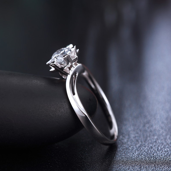 18K White Gold (AU750) Women Wedding Ring 0.2 Carat Certified I/SI Diamond Heart Shape Prong Twisted Design Engagement Rings