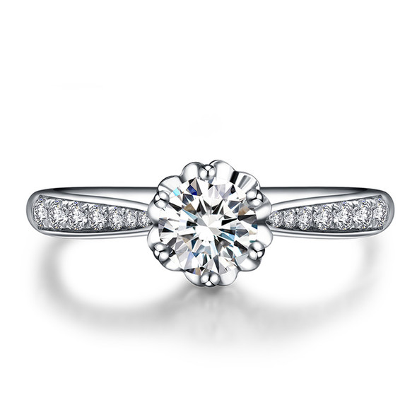 18K White Gold (AU750) Women Wedding Ring 0.59 CT Certified I/SI Round Cut Diamond Propasal Bijoux for Lovers Valentine Gift