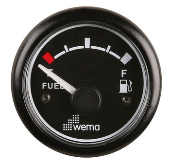 Wema Fuel Gauge  - Black Face 52mm