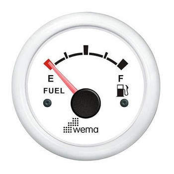 Wema Fuel Gauge  - White Face 52mm