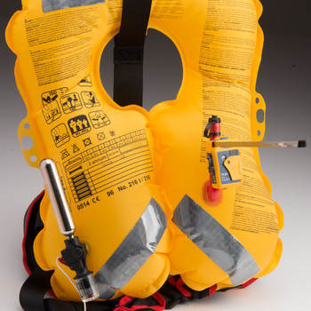 Ocean-Signal RescueME PLB1 fitted to life jacket oral inflation tube