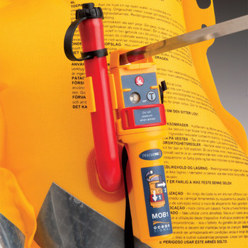 Ocean Signal RescueMe MOB1 fitted to life jacket with Antenna Extended