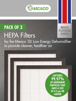 Meaco 12L Low Energy HEPA Filter Pack Set of 3
