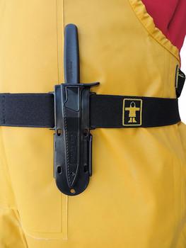 Guy Cotten belt and knife sheath on waist