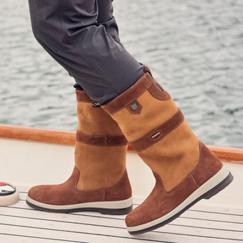 Dubarry Ultima brown sailing boots - deck action