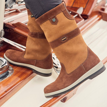 Dubarry Ultima brown sailing boots - action