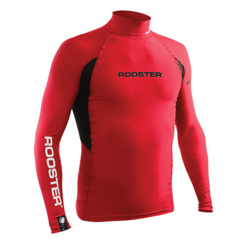 Rooster long sleeved rash vest -  red