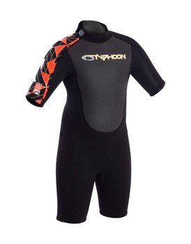Typhoon Storm Shorty Boys 3/2mm Wetsuit - Black/Orange