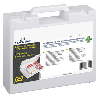 Plastimo Offshore and River First Aid Kit - White - Pharmacy coastal armrests closed view