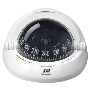 Plastimo Offshore 115 Compass - Black Conical Card  - White
