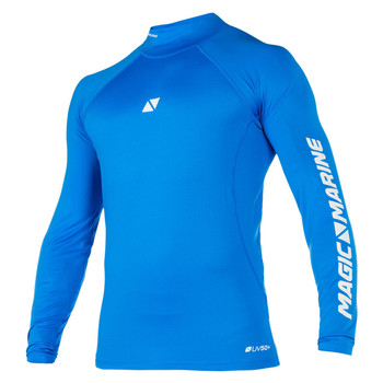 Magic Marine Long Sleeve Cube Rashvest - Unisex - Blue - Front view