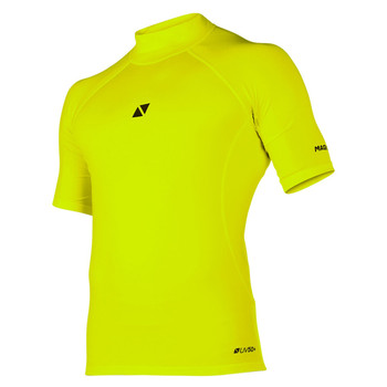 Magic Marine Short Sleeve Cube Rashvest - Flash Yellow - Front view