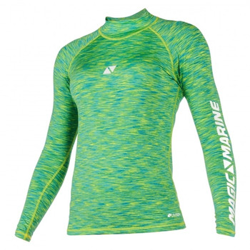 Magic Marine Long Sleeve Cube Rashvest - Women - Green - Front view