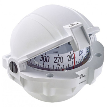 Plastimo Offshore 105 Compass - White - Flushmount - White Conical Card - Case close