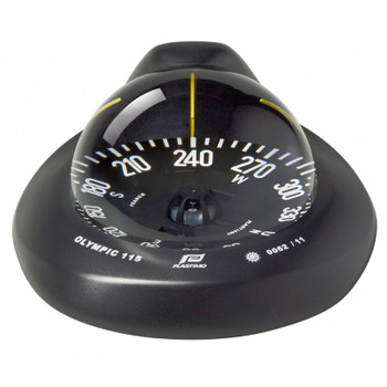 Plastimo Olympic 115 Compass - Flat Card  - Black 60997