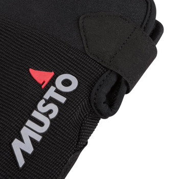 Musto Essential Sailing Long Finger Gloves - Black - Logo View