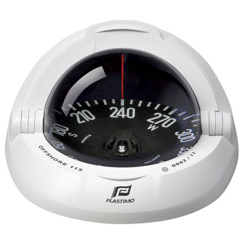 Plastimo Offshore 115 Compass - Black Flat Card - White