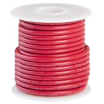 Ancor Tinned Copper Wire - 16 AWG (1mm²) - 25ft - red