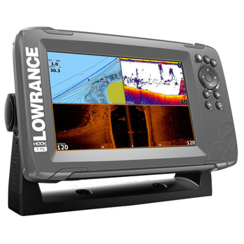 Lowrance HOOK²-7 TripleShot Transducer and Coastal Maps Fishfinder - Side View