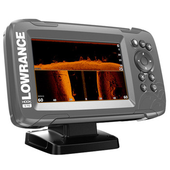 Lowrance HOOK²-5 TripleShot Transducer and Coastal Maps Fishfinder - Side View
